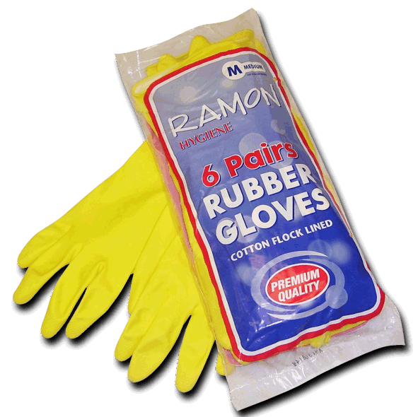 Rubber Yellow House Gloves (1Pair) (GL001) Image